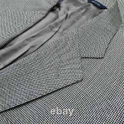 Brooks Bros Made Italy Salt & Pepper Houndstooth Wool Men Sport Coat Jacket 42S