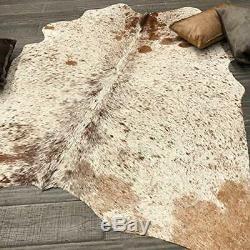 Brown White Salt Pepper Cow Hide Rug Natural Cow Hide Brazilian Hair On Hide 5x5