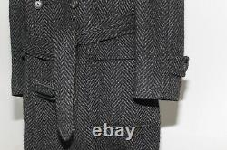 Burberrys VTG Heavy Tweed Wool Overcoat Herringbone Salt & Pepper Belted Large