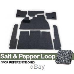 CARPET KIT, 7PC, With FOOTREST/HTR GROMMETS, 58-68 BUG SALT/PEPPER LOOP GREY CLOTH