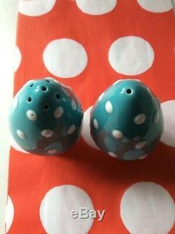 Cath Kidston Rare Mushroom Blue Salt & Pepper Set Cruet New & Gift Bags