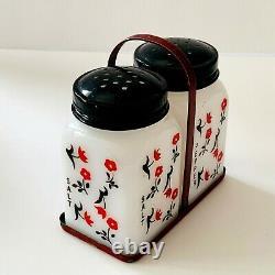 Chintz Tipp City Salt Pepper Shakers Black Lids Leaves Red Rack Flowers 4 Sides