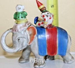 Circus Elephant Clown Dog Nodders Shakers Patent T. T. Vintage Japan Salt Pepper