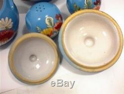 Cookie Jar Ransburg Grease Salt & Pepper Shakers Blue Flowered Stoneware Crock