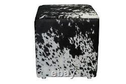 Cowhide Pouf Ottoman Cube Color Salt and Pepper Black, TOP Quality