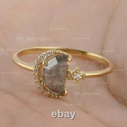 D-Shape Salt & Pepper Diamond Solid 14K Yellow Gold Crescent Moon RIng Jewelry