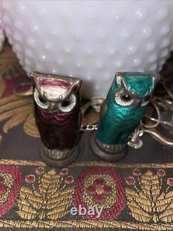 DAVID ANDERSEN Sterling Silver & Guilloche OWL Salt Pepper Shakers NORWAY