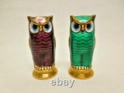 Dave Anderson Sterling Silver Enamel Owls Salt & Pepper Set FREE SHIPPING
