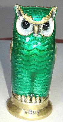 David Andersen Norway Sterling Guilloche Enameled Owl Salt Pepper Shakers