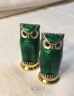 David Andersen Norwegian Guilloche Enameled Sterling Silver Owl Salt & Pepper