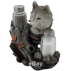 Decorative Gray Wolf Glass Salt and Pepper Shaker Set with Holder Figurine fo