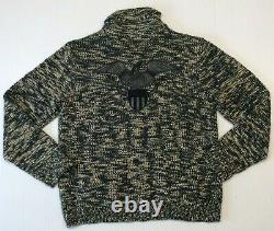 Denim Supply Ralph Lauren American Eagle Wool Knit Full Zip Sweater Cardigan XL