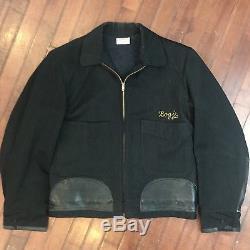 Detroit Vintage 50s Small Salt/Pepper Wool & Leather Beer Delivery Work Jacket