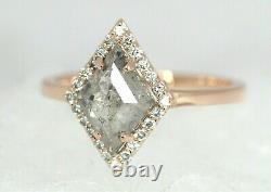 Diamond Ring, 2 Carat Salt And Pepper Gray Kite Cut Engagement Ring