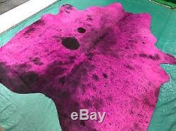 Dyed Pink Cowhide Rug Size 7.5' X 7' Salt & Pepper Pink Dyed Cowhide Rug M-319