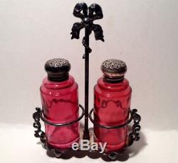 Eapg Cranberry Salt & Pepper Shakers