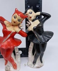 Enesco Japan She Devil Ballerina Salt Pepper Shakers Japan Red Black No Cork
