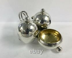 English Silver Condiment set Mustard / Salt Pepper Sheffield 1899
