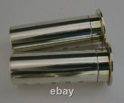 English Solid Sterling Silver Shooting Shell Case Salt & Pepper Pots 2004