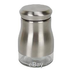 Evelyne Stainless Steel Glass Salt And Pepper Sugar Spice Shakers Twist Lid