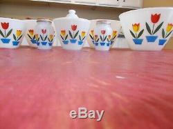 FIRE KING TULIPS ON WHITE 4 Bowl Set, Greaser & LID, SALT & PEPPER SHAKERS