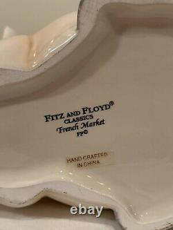 FITZ & FLOYD FRENCH MARKET 2 Pig Tureen, Lid, Ladle & Under-plate Salt & Pepper
