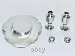 Fabulous Antique Pair of Sterling Silver Salt & Pepper Shakers On Silver Tray