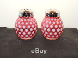 Fenton Cranberry Coin Dot Salt and Pepper Shakers over 2 inches tall (10677)