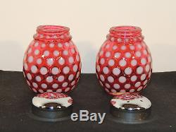 Fenton Cranberry Coin Dot Salt and Pepper Shakers over 2 inches tall (5878)