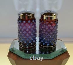 Fenton SALT / PEPPER Set Plum Opalescent Hobnail 3 inch OOAK FREEusaSHP