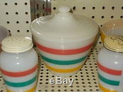 Fire King Complete Set Of Stripes 3 Bowls, Grease Bowl. Salt & Pepper Shakers