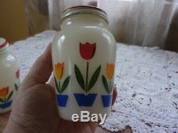 Fire King Hocking tulip range set grease jar & lid salt & pepper shakers EUC