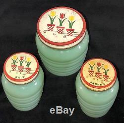 Fire King JADEITE RIBBED GREASE JAR & SALT / PEPPER SHAKER SET TULIP LIDS