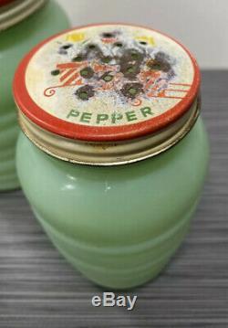 Fire King Jadite / Jadeite / Jade-ite Grease Jar & Salt & Pepper Range Set Tulip