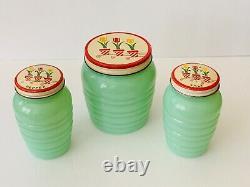 Fire King Puffy Beehive Jade-ite Grease Jar & Salt & Pepper Shakers Tulip Lids