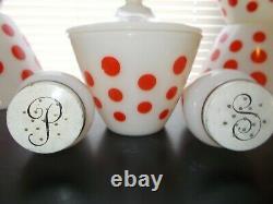 Fire King Red Dots Complete Set, 4 Bowls, Grease Jar & Lid, Salt & Pepper Shaker