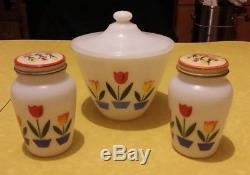 Fire King Tulips White Grease Jar Salt & Pepper Shakers Range Set, Excellent