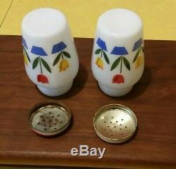 Fireking Tulip Range Set Grease Jar Bowl Salt & Pepper Shaker Great condition