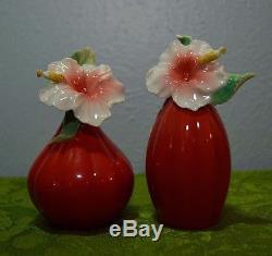 Franz Island Beauty Hibiscus Design Sculptured Porcelain Salt & Pepper Shakers