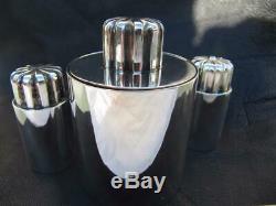 Georg Jensen Silver Bernadotte Rare Condiment Set Mustard, Salt & Pepper Shakers