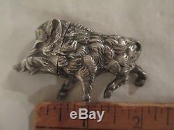 German 800 Figural Silver Boar Pig Salt Pepper Spice shaker container c1900