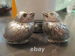 German 800 silver Bird figural Salt / Pepper shakers sparrow PAIR