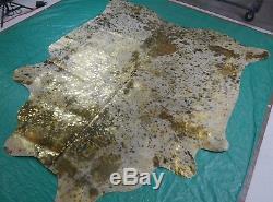 Gold Metallic Cowhide Rug Size 6.4 X 5.7 ft Gold on Salt & Pepper Rug D-841