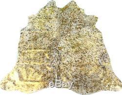 Gold Metallic Cowhide Rug Size 6.4 X 6 Gold Metallic on Salt & Pepper Rug M-202