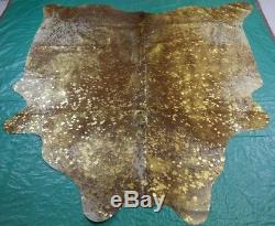 Gold Metallic Cowhide Rug Size 6 X 6.4 ft Gold on Salt & Pepper Rug D-840
