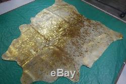 Gold Metallic Cowhide Rug Size 6 X 6 ft Gold on Salt & Pepper Rug D-810