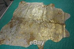 Gold Metallic Cowhide Rug Size 6 X 6 ft Gold on Salt & Pepper Rug D-812