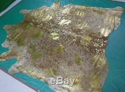 Gold Metallic Cowhide Rug Size 7.4 X 7 ft Gold on Salt & Pepper Rug D-949