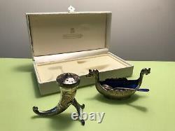 Gorgeous Vintage David Andersen Viking Enameled Silver Salt & Pepper Set Norway