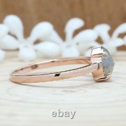 Grey Salt And Pepper Pear Diamond 14K Solid Rose Gold Ring Engagement Gift KD632